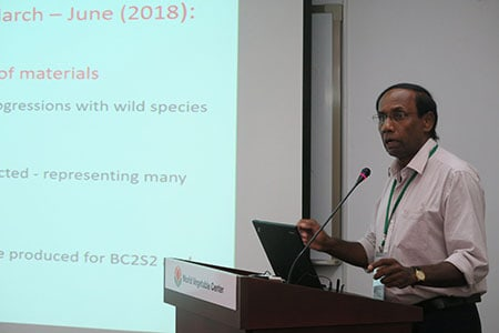 Speaking on eggplant: Hemal Fonseka from the University of Peradeniya, Sri Lanka